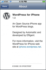 WordPress for iPhone Preview