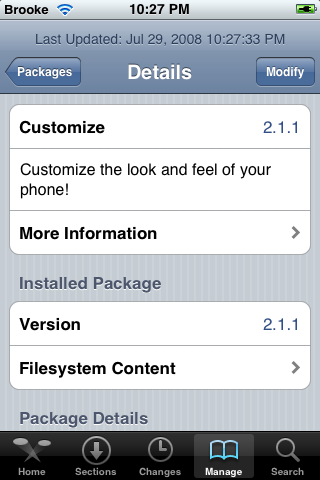 Customize availabe on 2.0 firmware via Cydia
