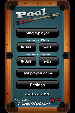 Pool – Pocket Billiard Game for the iPhone and iPod Touch