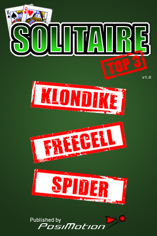 Top 3 Solitaire – Klondike, FreeCell, and Spider Solitaire for the iPhone and iPod Touch.