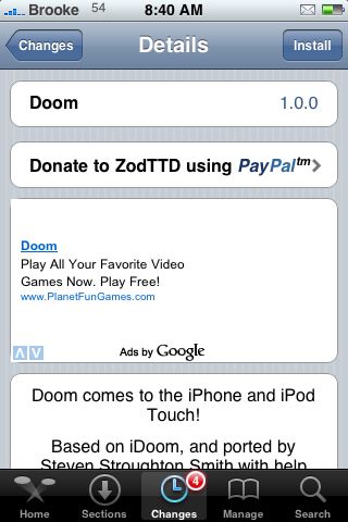 Doom – Ported to the iPhone and iPod Touch
