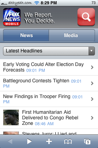 iPhone Web Apps for Monitoring the 2008 US Presidental Election