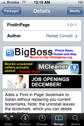 FindInPage – Safari Bookmark for Searching Web Pages