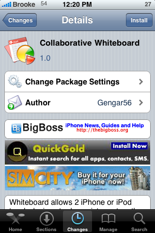Collaborative Whiteboard – Draw with another iPhone or iPod Touch over WiFi