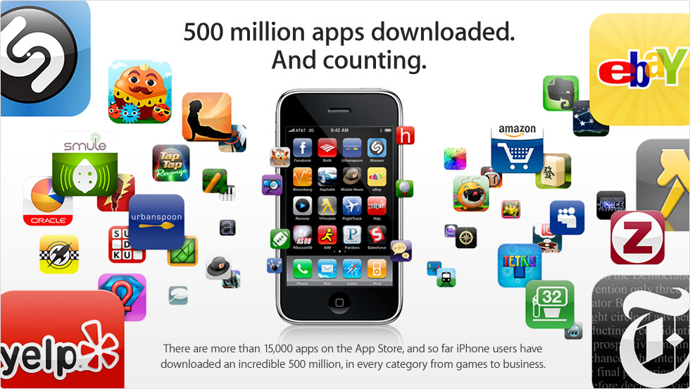 App Store 15,000 Apps, 500,000,000 Downloads