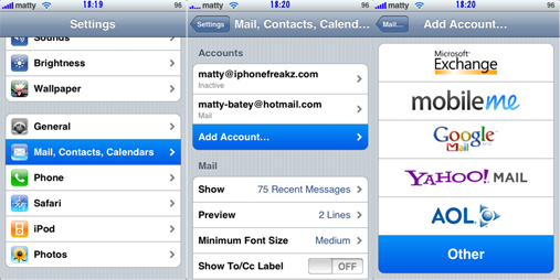 Hotmail on the iPhone (in some countries)