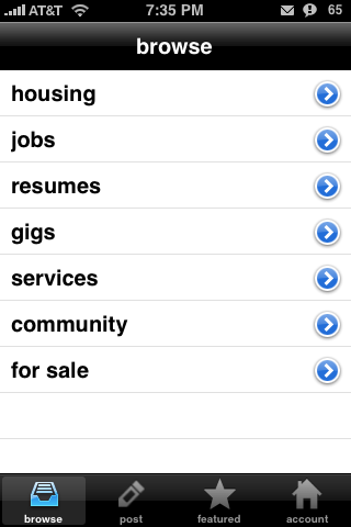 craigsphone – A Free Craigslist iPhone App