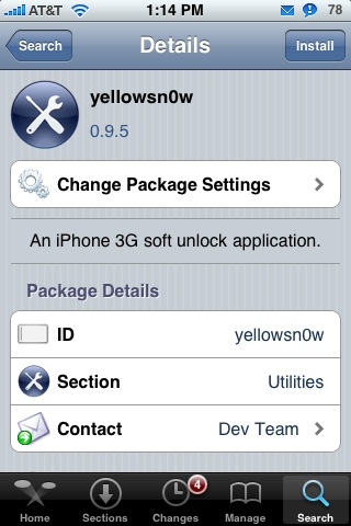 iPhone 3G Unlock Software Update – yellowsn0w