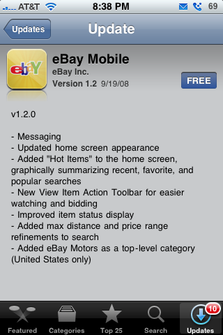 Ebay Mobile 1.2 Update