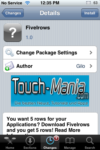FiveIrows – Five Rows of Icons on your SpringBoard (six counting the dock icons)