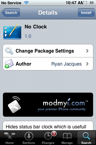 No Clock – Remove Status Bar Time