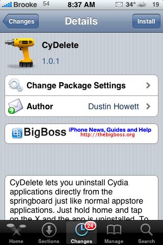 CyDelete – Delete Cydia Apps off SpringBoard