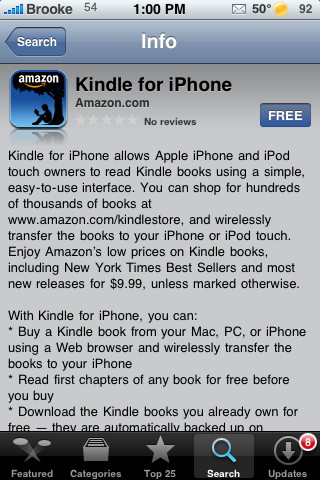 Turn your iPhone and/or iPod Touch into a Kindle