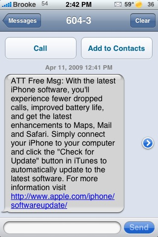 Text Message from AT&T