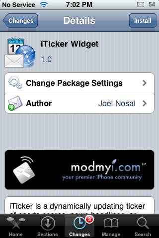 iTicker Widget – Scrolling RSS Feed on Your SpringBoard