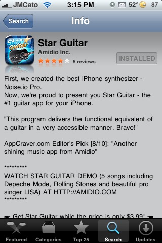 Star Guitar – Synthesized Guitar Application