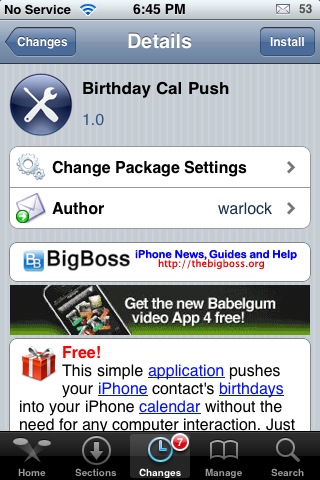 Birthday Cal Push – Import Contacts' Birthday's into Calendar