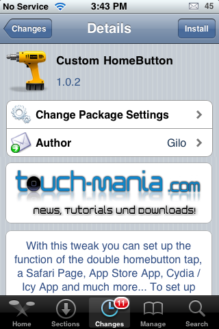Custom HomeButton – Choose a Home Button Double-Tap