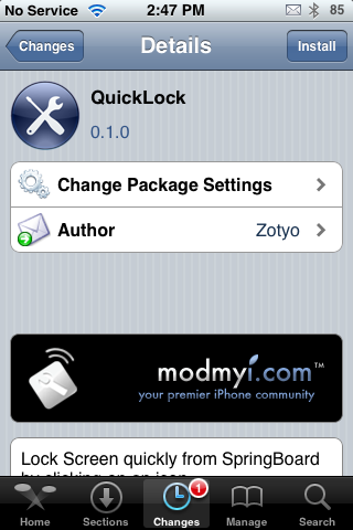 QuickLock – SpringBoard One Tap Lock Option