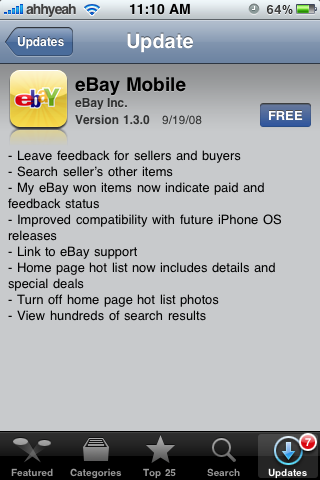 eBay Mobile 1.3 Update