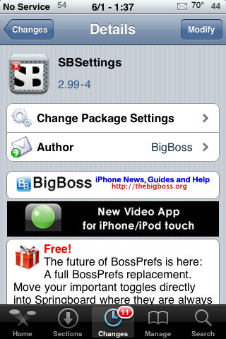 SBSettings Update – Hide Hold Indicator