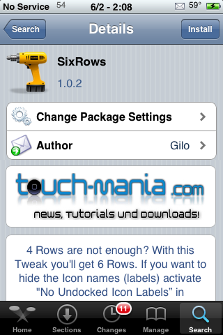 SixRows – Six Rows on Your SpringBoard (Seven Counting the Dock)
