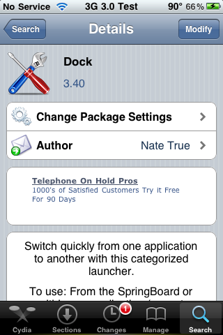 Dock (an application launching utility) on 3.0 Firmware