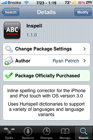 Inspell – Spell Check for the iPhone and iPod Touch