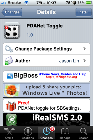 PDANet SBSettings Toggle