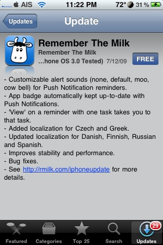 Remember the Milk Update – More Push Notification Options