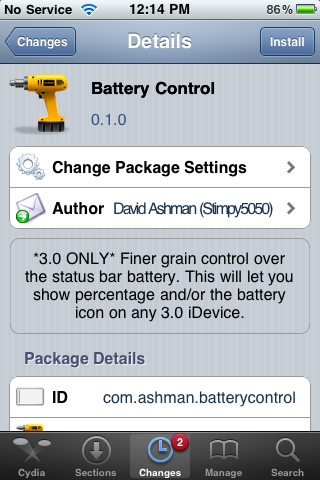 Battery Control – Turn on/off Statusbar Battery Icon and Percentage