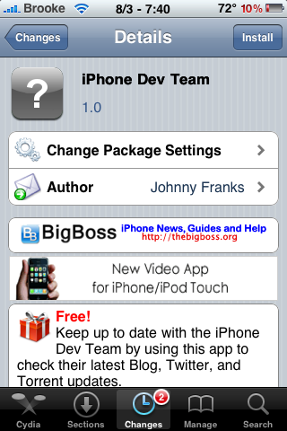 iPhone Dev Team Application