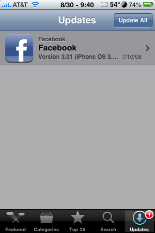 Facebook Updated to 3.01 – Bug Fixes