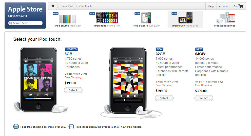 Apple Store Back Up – Reflects New iPod Touch Sizes and Pricing