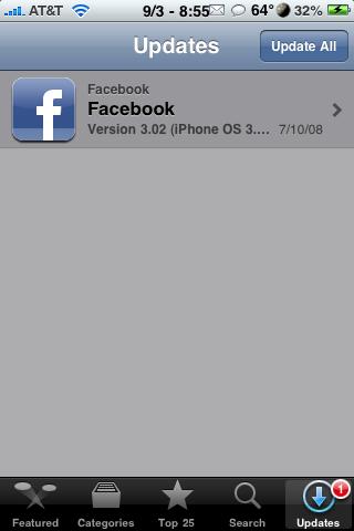 Facebook 3.02 Update