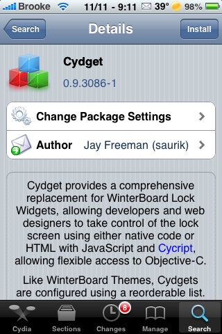 Cydget – Framework for Managing Lock Screen Plugins