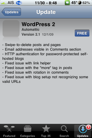 WordPress 2.1 Update