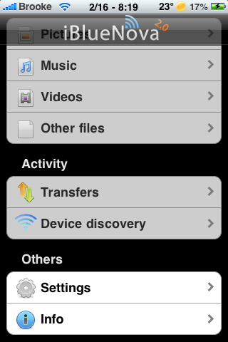 Ibluenova allows iphone to transfer files over bluetooth