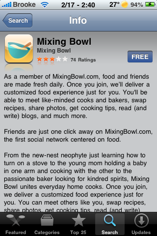 Mixing Bowl – Cooking Application
