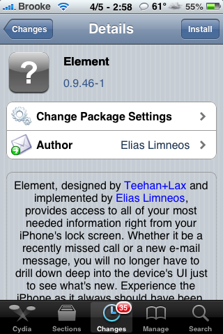 Element Lockscreen Now Available in Cydia!