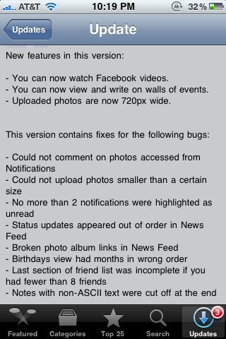 Facebook for iPhone Update 3.1.3