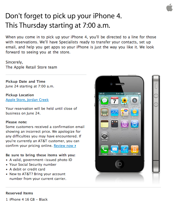 Reminder: Pick up your reserved iPhone 4 on June 24