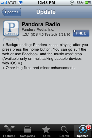 Pandora App Updated, Runs in Background [finally]