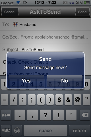 AskToSend – Confirmation Pop-up when Sending SMS or Email