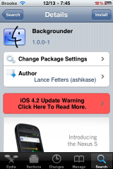 Aggiornamento di Backgrounder - IOS 4.2.1 di sostegni