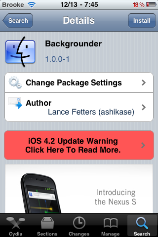 Backgrounder Update – Supports iOS 4.2.1