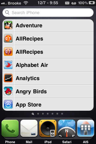 ListLauncher – Alphabetical List of Apps in Spotlight Search Page