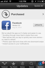 Facebook update page in the App Store for the iPhone.
