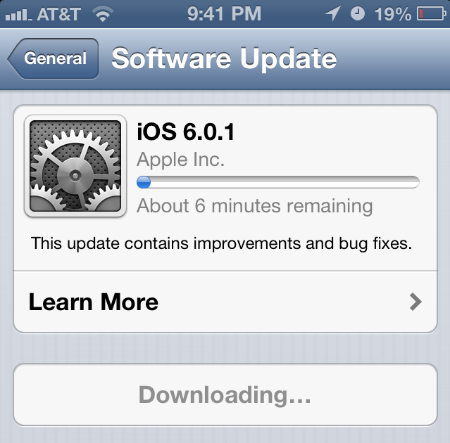 iOS Firmware 6.0.1 Update for iPhone, iPad & iPod touch