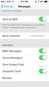 Messages - Settings